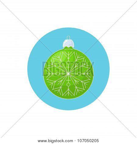 Colorful Icon Christmas Green Ball with Snowflake