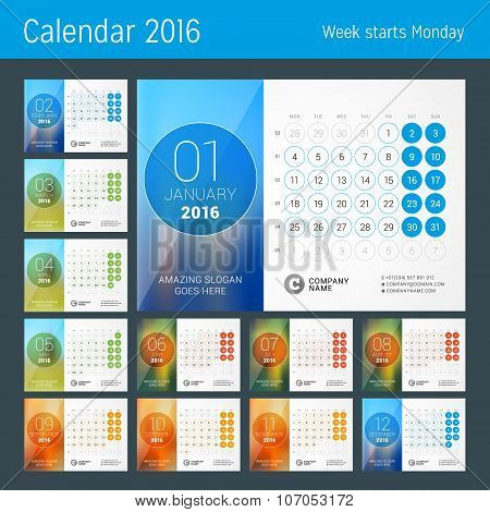 Desk Calendar For 2016 Year. Vector Design Print Template With Place For Photo And Circles. Week Sta