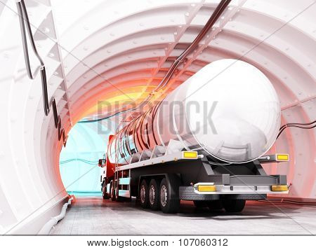 Truck driven by fuel on the road.
