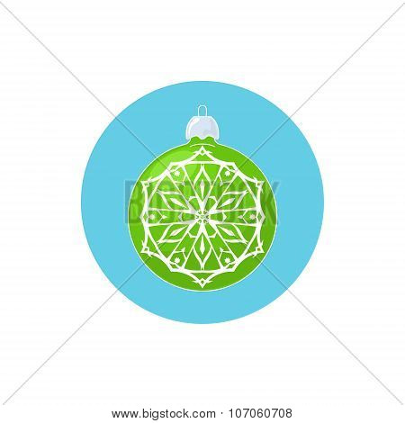 Colorful Icon Green Ball with Snowflake