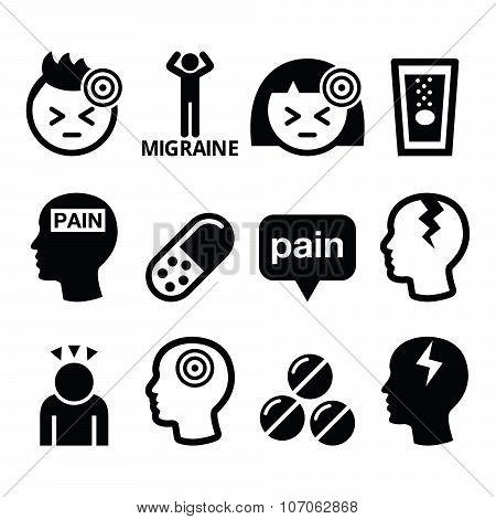 Headache, migraine - medical vector icons set