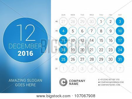 December 2016. Desk Calendar For 2016 Year. Vector Design Print Template With Place For Photo And Ci
