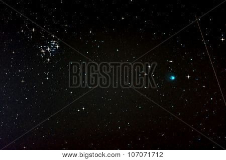 Starfield With Comet Lovejoy, Falling Star And Pleiades