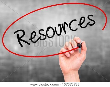 Man Hand writing Resource with black marker on visual screen.