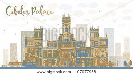 Abstract Cibeles Palace (Palacio de Cibeles), Madrid, Spain. Business travel and tourism concept with historic building. Image for presentation, banner, placard and web site.