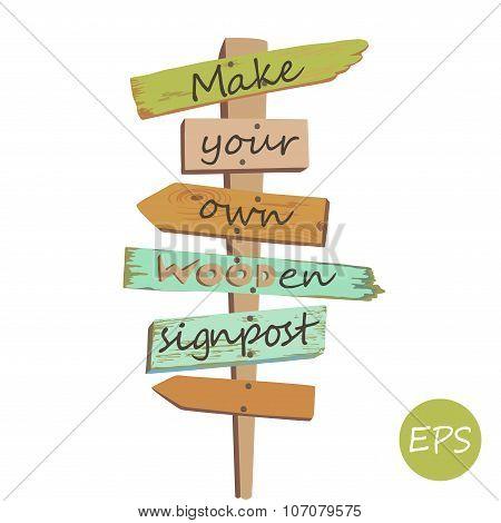 Vector Wooden signpost