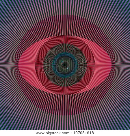 Vector illustration/Acid line eye with illusion affect poster