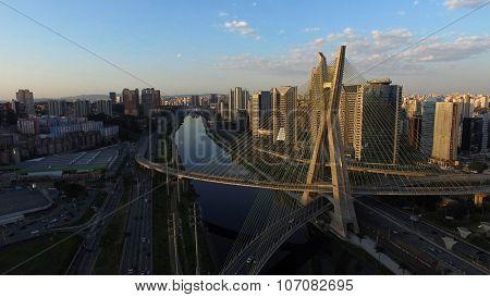 SAO PAULO, BRAZIL - CIRCA AUGUST, 2015: Aerial Shot of the Ponte Estaiada and Skyscrapers in Sao Paulo, Brazil