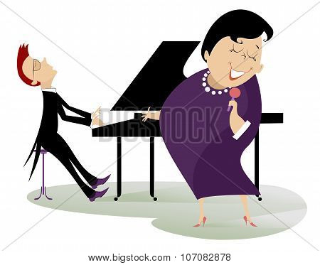 Singer woman and a pianist