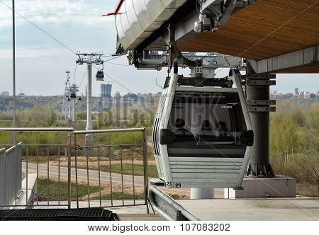 Cable Railway Above Volga River In Nizhny Novgorod