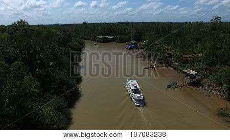 BELEM DO PARA, BRAZIL - NOVEMBER 01, 2015: Aerial View of Amazon River in Belem do Para, Brazil