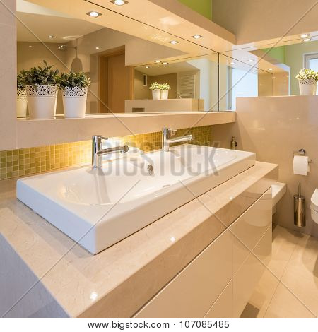 Modern Illuminated Washroom Interior