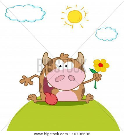Calf cartoon character to hold a flower meadow poster