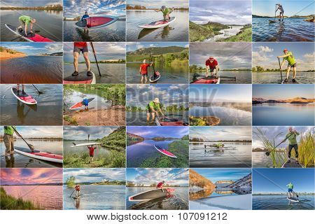 collection of stand up paddling (SUP) pictures from lakes in northern Colorado featuring  the same 60 years old male paddler