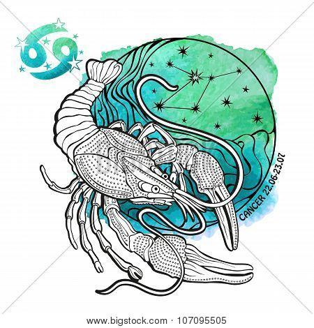 Cancer zodiac sign.Horoscope circle.Watercolor stein