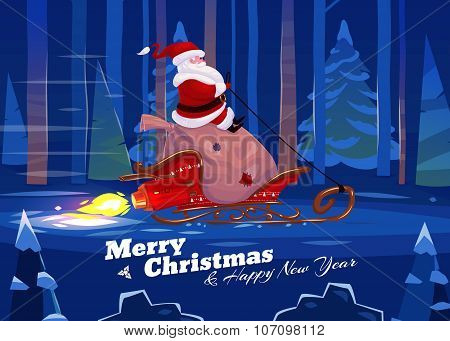 Funny santa. Christmas greeting card background poster. Vector illustration.