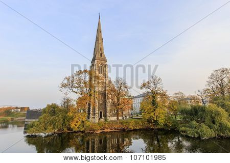 Traveling In The Famous St Alban's Church, Copenhagen