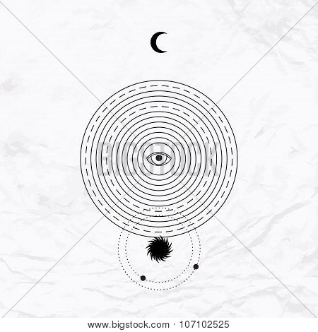 Vector medieval geometric alchemy symbol with eye, moon, sun, circle, shape, dot. Abstract occult and mystic sign. Linear logo and spiritual design. Concept of magic, yoga, tantra, religion, astrology poster