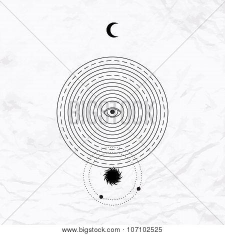 Geometric abstract mystic symbol