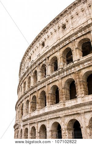 Colosseum in Rome, Italy. Isolated on white