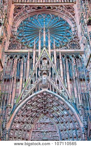 Gothic Cathedral of Strassbourg, main town of the Alsace region, France