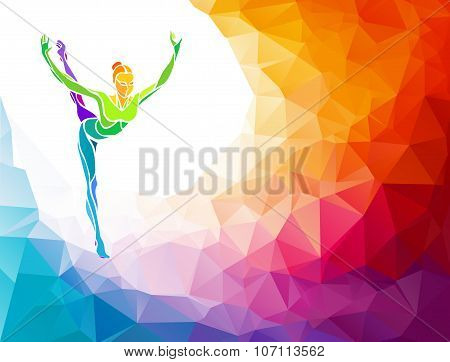 Creative silhouette of gymnastic girl on multicolor back