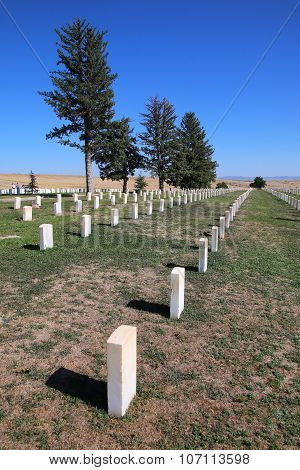 MONTANA USA - SEPTEMBER 4: Custer National Cemetery at Little Bighorn Battlefield National Monument on September 4 2015 in Montana USA. This National Monument preserves the site of the June 25-26 1876 Battle of the Little Bighorn. poster
