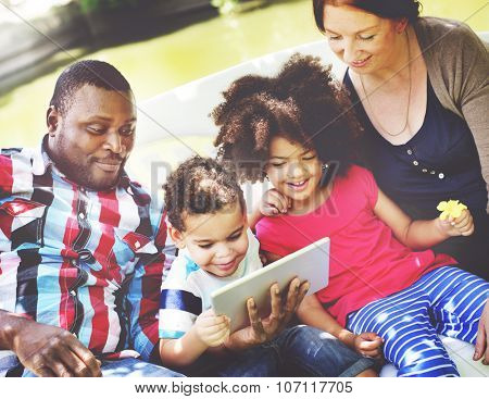 Family Relax Happiness Using Tablet Concept