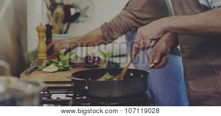Husband Wife Cooking Dinner Food Concept