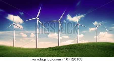 Hill Wind Turbine Green Outoors Environmetal Conservation Concept
