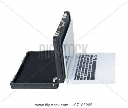 Briefcase Backed To Laptop