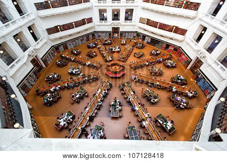 MELBOURNE - January 9, 2015: La Trobe reading room at the State Library of Victoria in Melbourne. The library holds over 2 million books. It is the central library of the state of Victoria, Australia