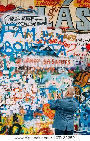 Famous place in Prague - The John Lennon Wall, Czech Republic