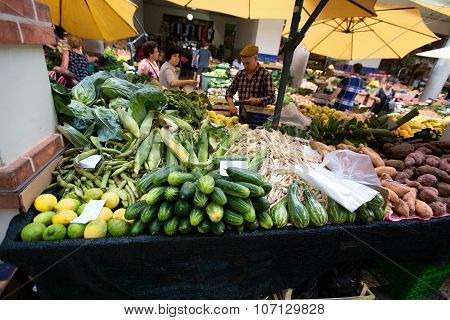 Funchal, Madeira, Portugal - June 29, 2015: Bustling Fruit And Vegetable Market In Funchal Madeira O