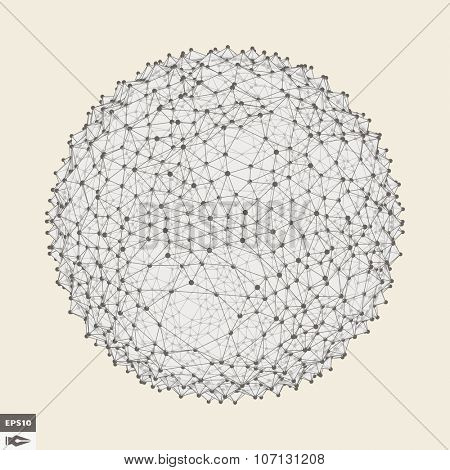 3d Sphere With Prickles. Abstract Geometric Object. Vector Illustration.