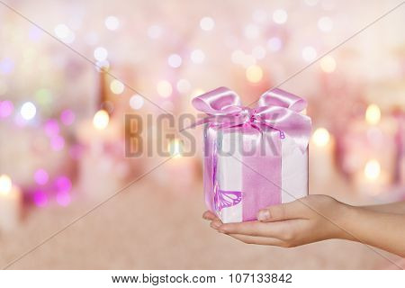 Gift Boxes Holding Hands, Present Pink Silk Ribbon Bow For Woman