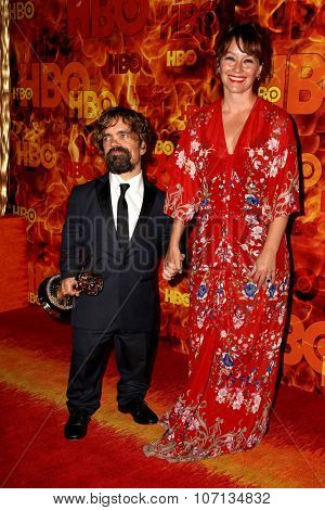 LOS ANGELES - SEP 20:  Peter Dinklage, Erica Schmidt at the HBO Primetime Emmy Awards After-Party at the Pacific Design Center on September 20, 2015 in West Hollywood, CA