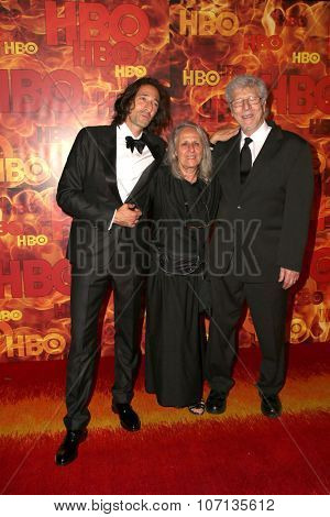 LOS ANGELES - SEP 20:  Adrien Brody, Sylvia Plachy, Elliot Brody at the HBO Primetime Emmy Awards After-Party at the Pacific Design Center on September 20, 2015 in West Hollywood, CA