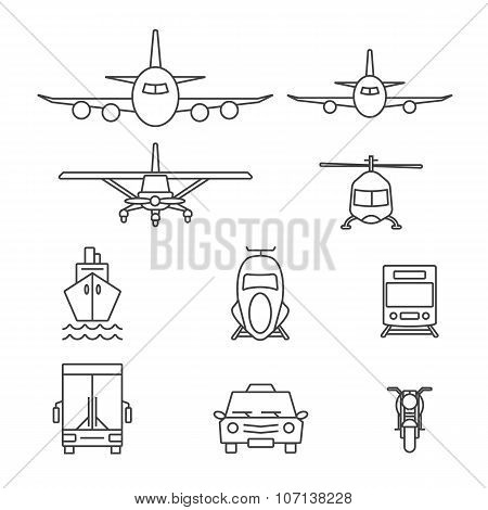 Vehicle and transportation icon sets. Line icons.