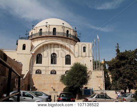 White facade famous restored Hurva Synagogue. Jerusalem, Israel