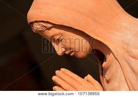 Saint Mary Statue In Nativity Scene