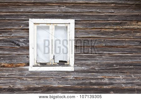 View, closeup on a wooden timber wall.
