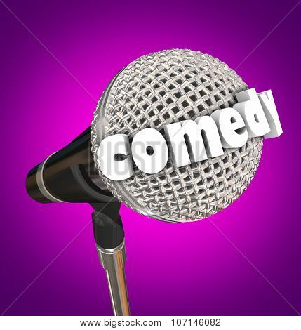 Comedy word in 3d letters on a microphone for a stand-up comic or performer