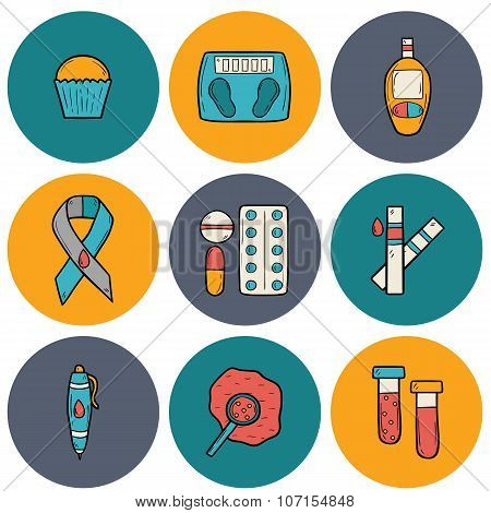 Diabetes hand drawn icons