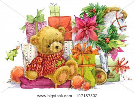 Teddy bear and Christmas gifts. New year and Christmas background with cute toy teddy bear and Festi