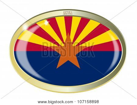 Oval metal button with the Arizona flag isolated on a white background poster