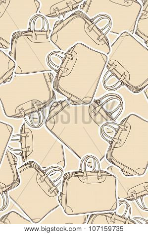 vector background with shopping and travel  bag. Vector illustration. Seamless pattern.