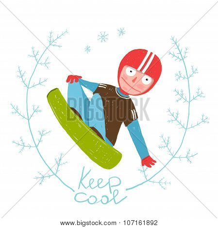 Snowboard Funky Free Rider Jumping Colorful Cartoon for Kids.