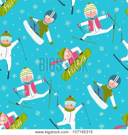 Funky Skier Snowboarder Winter Sport Cartoon Seamless Pattern Background