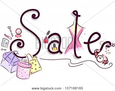 Illustration of Shopping Bags Surrounded with Discounted Items for Girls